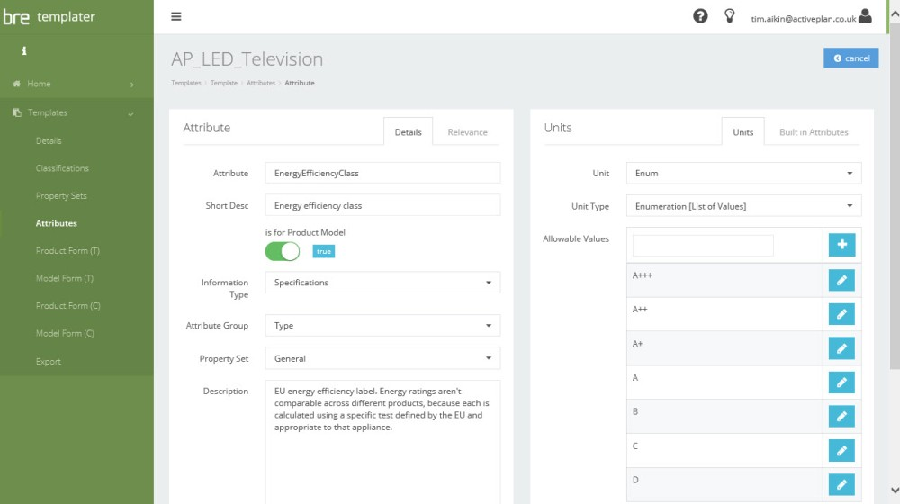 LED TV Enumerated list of attributes
